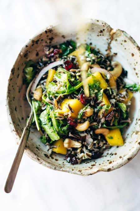 salad with wild rice and lemon dressing