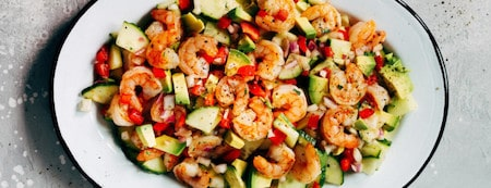 Easy Keto Dinner Recipes To Try Tonight18 Shrimp-Avocado-Cucumber-Salad-min